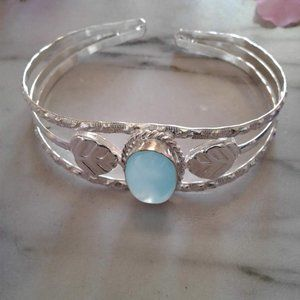 blue chalcedony sterling silver cuff